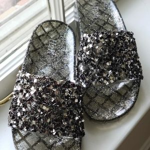 Black/Silver Sparkle Slides